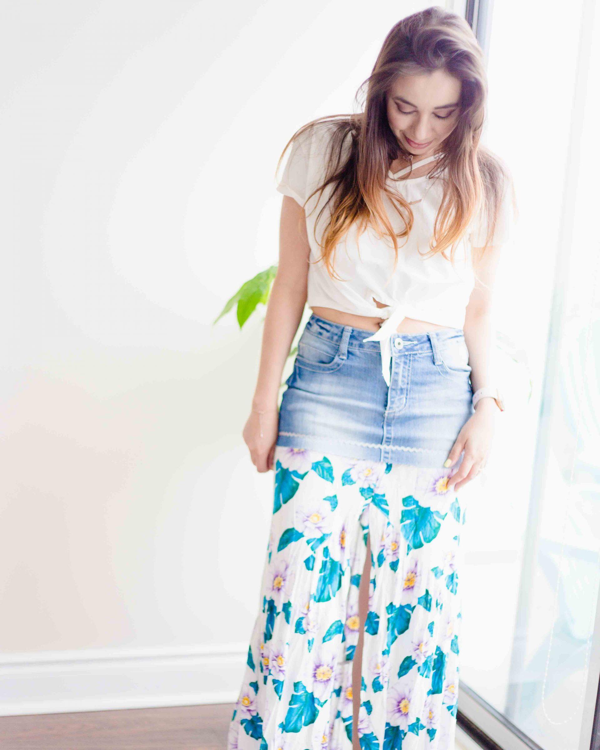 Transforme sua velha saia jeans em uma saia estilosa para a primavera