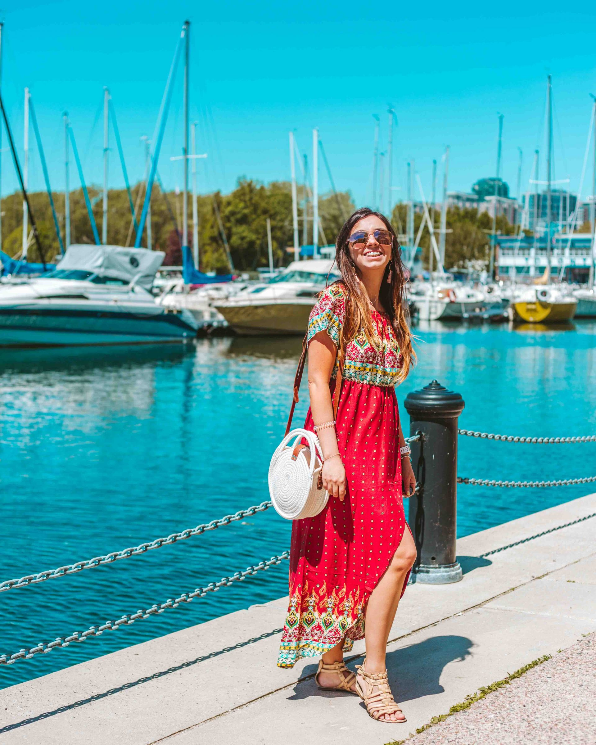 Outfit of the Day: Red Maxi Dress and Straw Bag