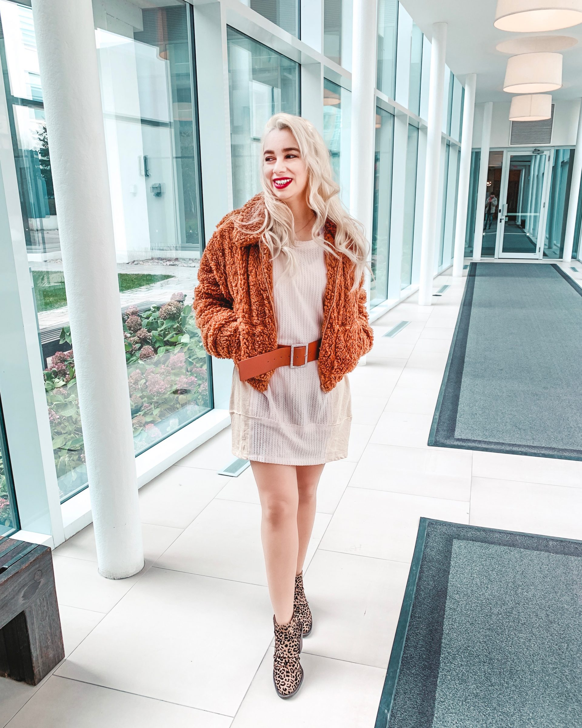 Outfit of the day: Nude Dress + Teddy Jacket