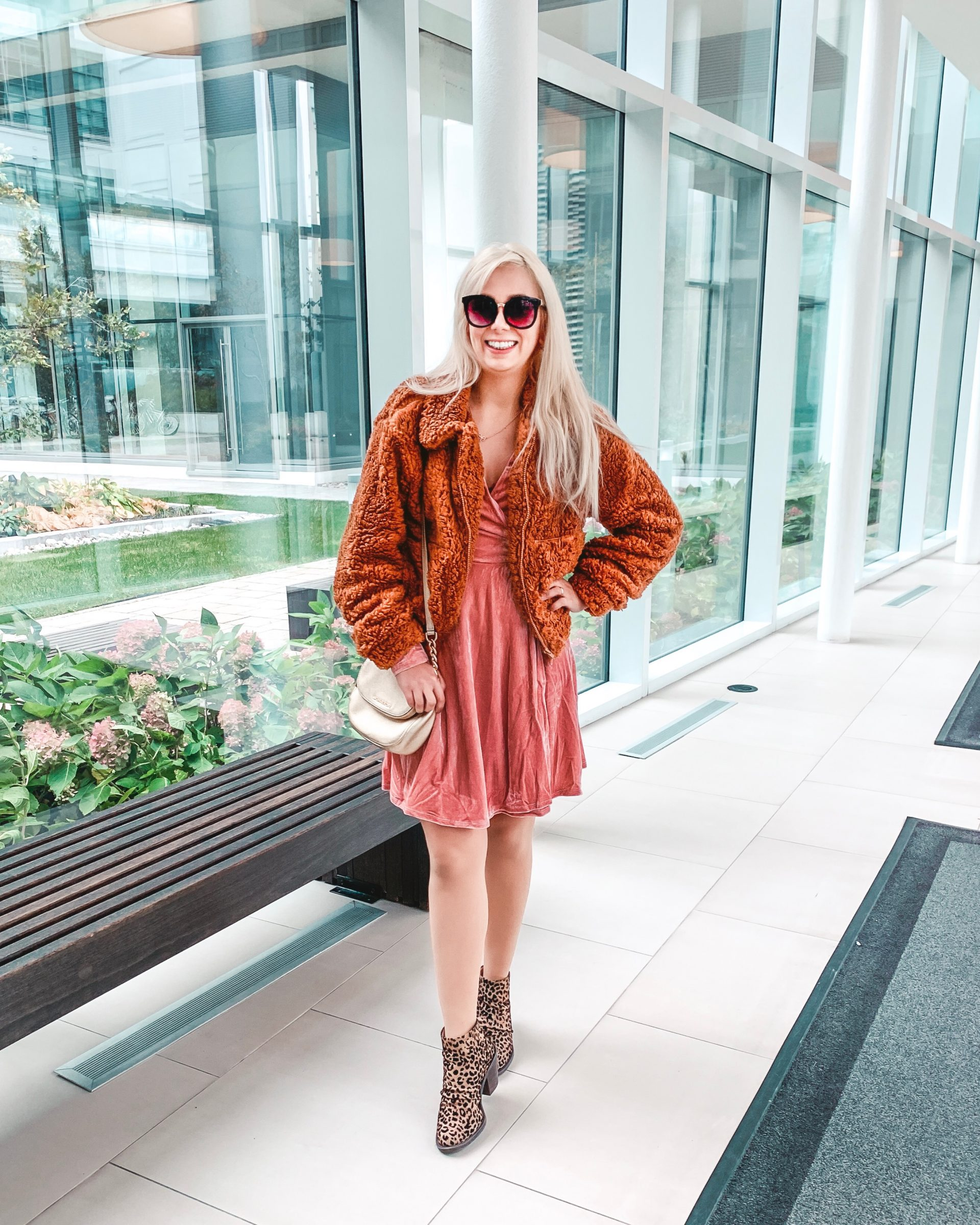 What I wore: teddy bear jacket